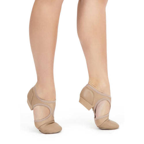 Product image of female model wearing Capezio Pedini Femme Split-Sole Shoe, shown in caramel.
