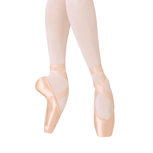 Female model wearing BLOCH Balance European Pointe Shoe, style ES0160L, colour pink satin, front and side view.