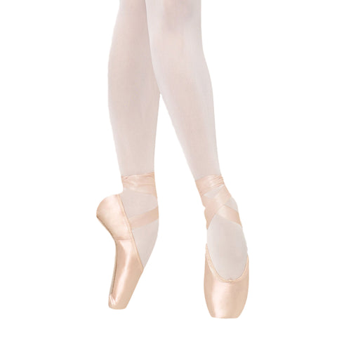 Female model wearing BLOCH TMT B-Morph Moldable Pointe Shoe, style ES0170L, colour Satin Pink.