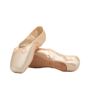 Product image of BLOCH TMT B-Morph Moldable Pointe Shoe, style ES0170L, colour Satin Pink, side and bottom view.