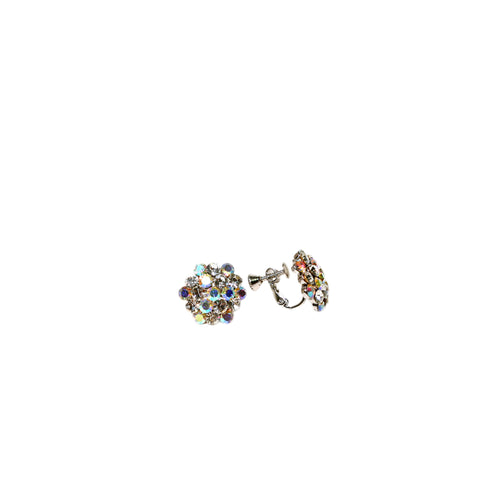 Product image of: FH2 16 mm AB Mixed Cluster Earrings - Clip On, Style: AZ0014-1 Color: Mixed, View: Front and side.