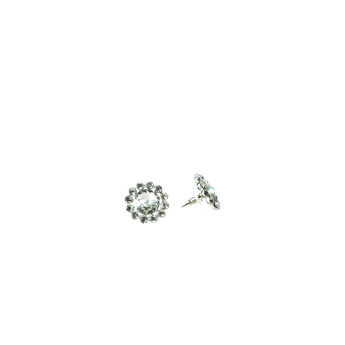 Product image of: FH2 19 mm Crystal Flower Stud Earrings, Style: AZ0049, Color: Clear, View: Front and side.