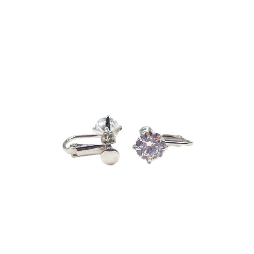 Product image of: FH2 8 mm Stud CZ Earrings - Clip On, Style: AZ0016-1, Color: Clear, View: Front.