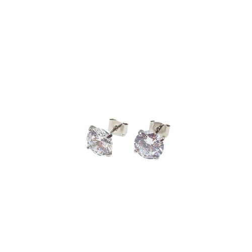 Product image of: FH2 8 mm Stud CZ Earrings - Pierced, Style: AZ0016, Color: Clear, View: Front.