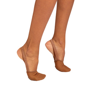 Female model wearing Capezio Hanami Pirouette Shoe, style H064W, colour mocha, side view.