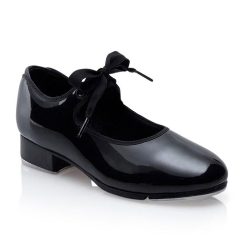 Product image of: CAPEZIO Jr. Tyette Tap Shoe, Style: N625, Color: Black, 45 degree angle view.