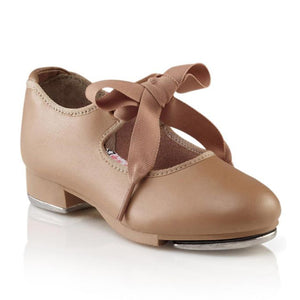 Product image of: CAPEZIO Jr. Tyette Tap Shoe, Style: N625, Color: Caramel, 45 degree angle view.