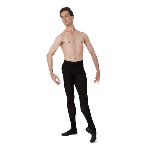 Male model wearing Capezio Footed Tight, style MT11, colour black.