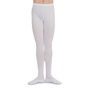 Male model wearing Capezio Footed Tight, style MT11, colour white.