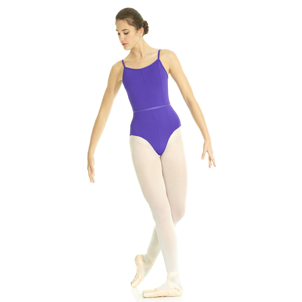 Female model wearing Mondor RAD Camisole Leotard, style 13520, colour purple, front view.