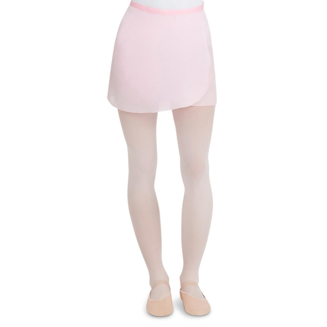 Female model wearing CAPEZIO Georgette Wrap Skirt, style N272, colour pink, front view.