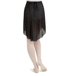 Female model wearing CAPEZIO Georgette Long Wrap Skirt, style N276, colour black, back view.
