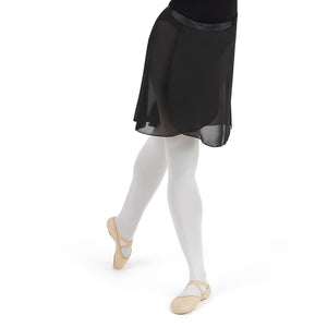 Female model wearing CAPEZIO Georgette Long Wrap Skirt, style N276, colour black, front & side view.