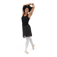 Load image into Gallery viewer, Female model wearing CAPEZIO Georgette Long Wrap Skirt, style N276, colour black, front view lifestyle shot.