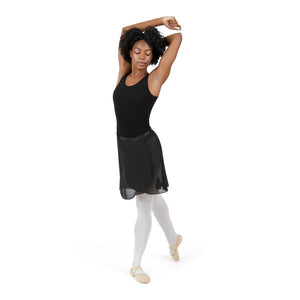 Female model wearing CAPEZIO Georgette Long Wrap Skirt, style N276, colour black, front view lifestyle shot.