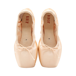 Product image of Bloch Eurostretch Pointe Shoe, style S0172L, colour pink satin, top view.