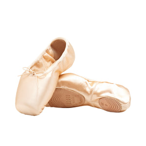 Product image of Bloch Eurostretch Pointe Shoe, style S0172L, colour pink satin, top & bottom view.