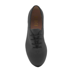 Product Image Bloch Leather Tap Shoe, top view, shown in color black.