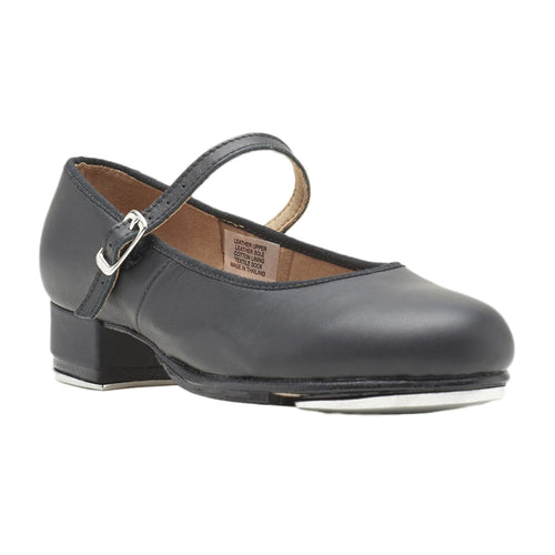 Product image of Bloch Girls Tap On Leather Tap Shoe, style S0302G, shown in color black, 45 degree view.