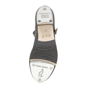 Product image of Bloch Ladies Tap On Leather Tap Shoe, style S0302L, shown in color black, bottom view.