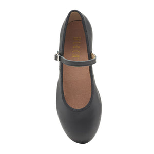 Product image of Bloch Ladies Tap On Leather Tap Shoe, style S0302L, shown in color black, top view.