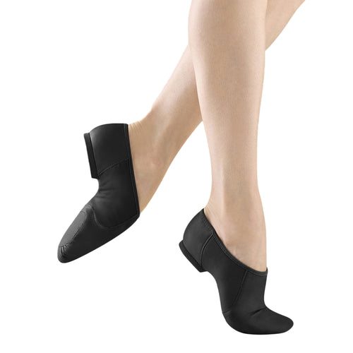 Female model wearing BLOCH Neo Flex Slip On Leather Jazz Shoe. Style: S0495L. Color: Black. View: Side.