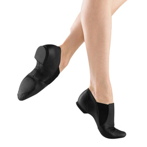 Female model wearing Bloch Leather Elasta Jazz Booties, style S0499L, colour black, side & bottom view.