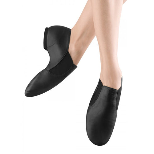 Female model wearing Bloch Leather Elasta Jazz Booties, style S0499L, colour black, top & side view.