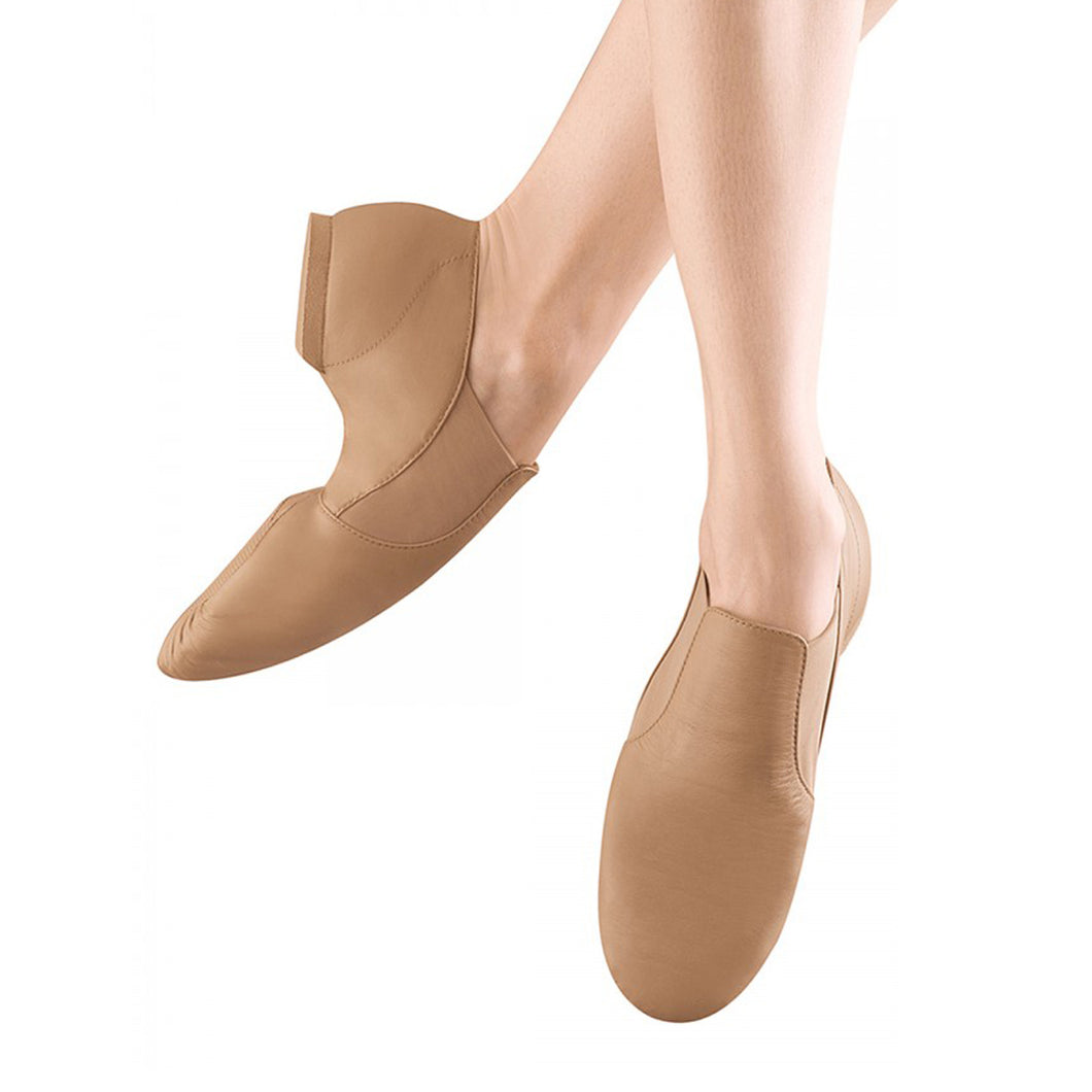 Female model wearing Bloch Leather Elasta Jazz Booties, style S0499L, colour tan, top & side view.