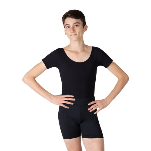 Male model wearing Capezio Studio Short, style SE1067M, color black, front view.