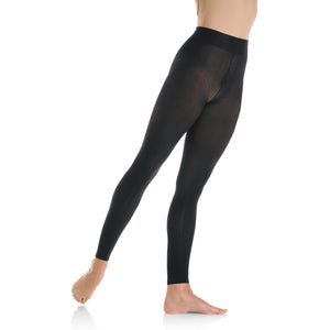 Female model wearing Mondor Ultra Soft Tight, style 318, colour black.