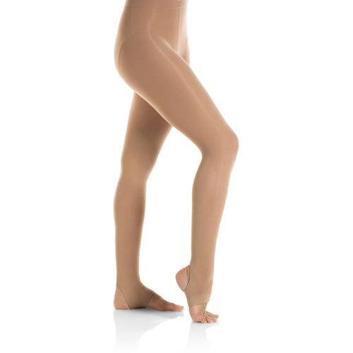 Female model wearing Mondor Ultra Soft Tight, style 362, colour suntan.