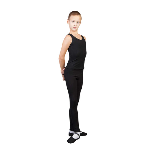 Male model wearing Sansha Signature Boys Footless Tights, style Y0151C, colour black, front view.