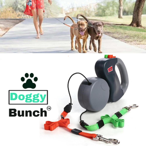 Double Dog Leash With Dual Leash Retractable Rope