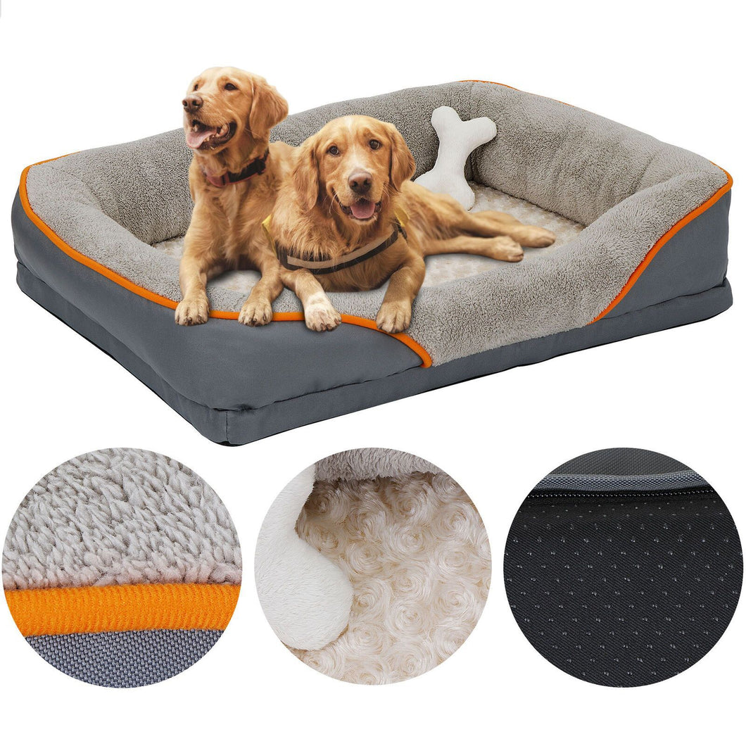Dog Bed With Memory Foam & Removable Washable Cover (Free Toy Included)
