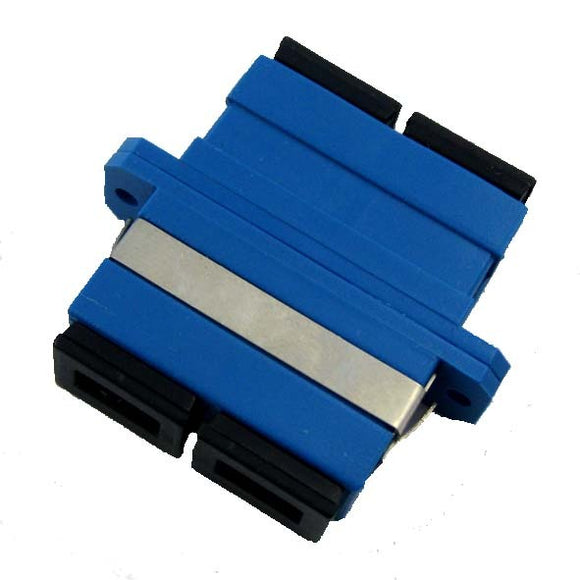 Adapter/Coupler SC SM Female to Female Duplex Blue  (Minimum 10 Pieces) - Connectedfibers-Online