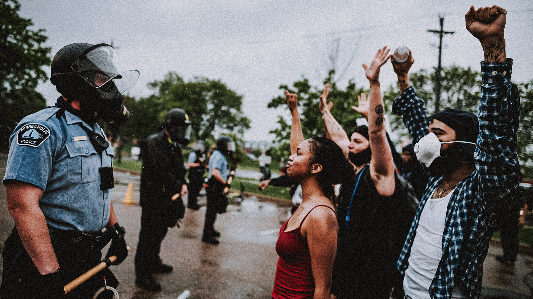 Protestors in Minnesota facing the police after the death of George Floyd