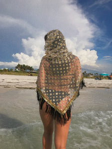 Golden Goddess Hooded Shawl