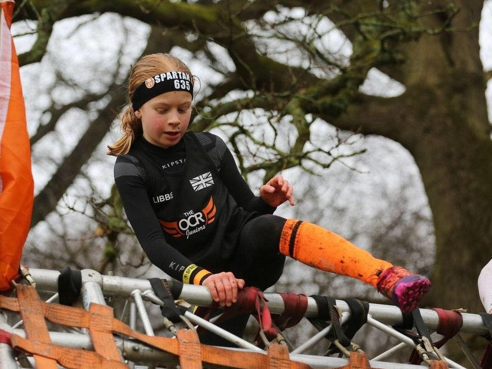 Libbie representing the UK at Spartan Kids World Championship