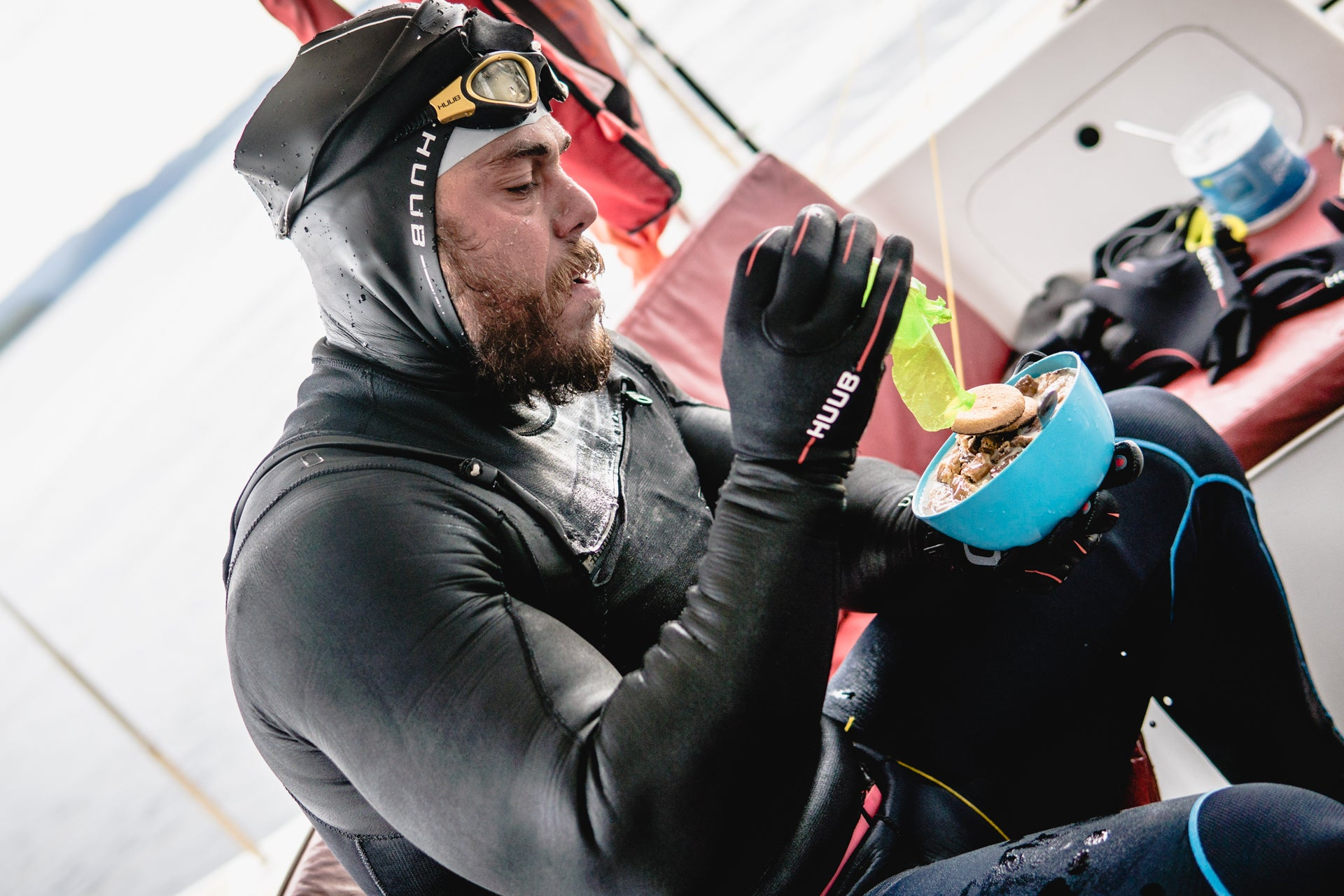 Ross Edgley eating. Image courtesy of Red Bull Content Pool