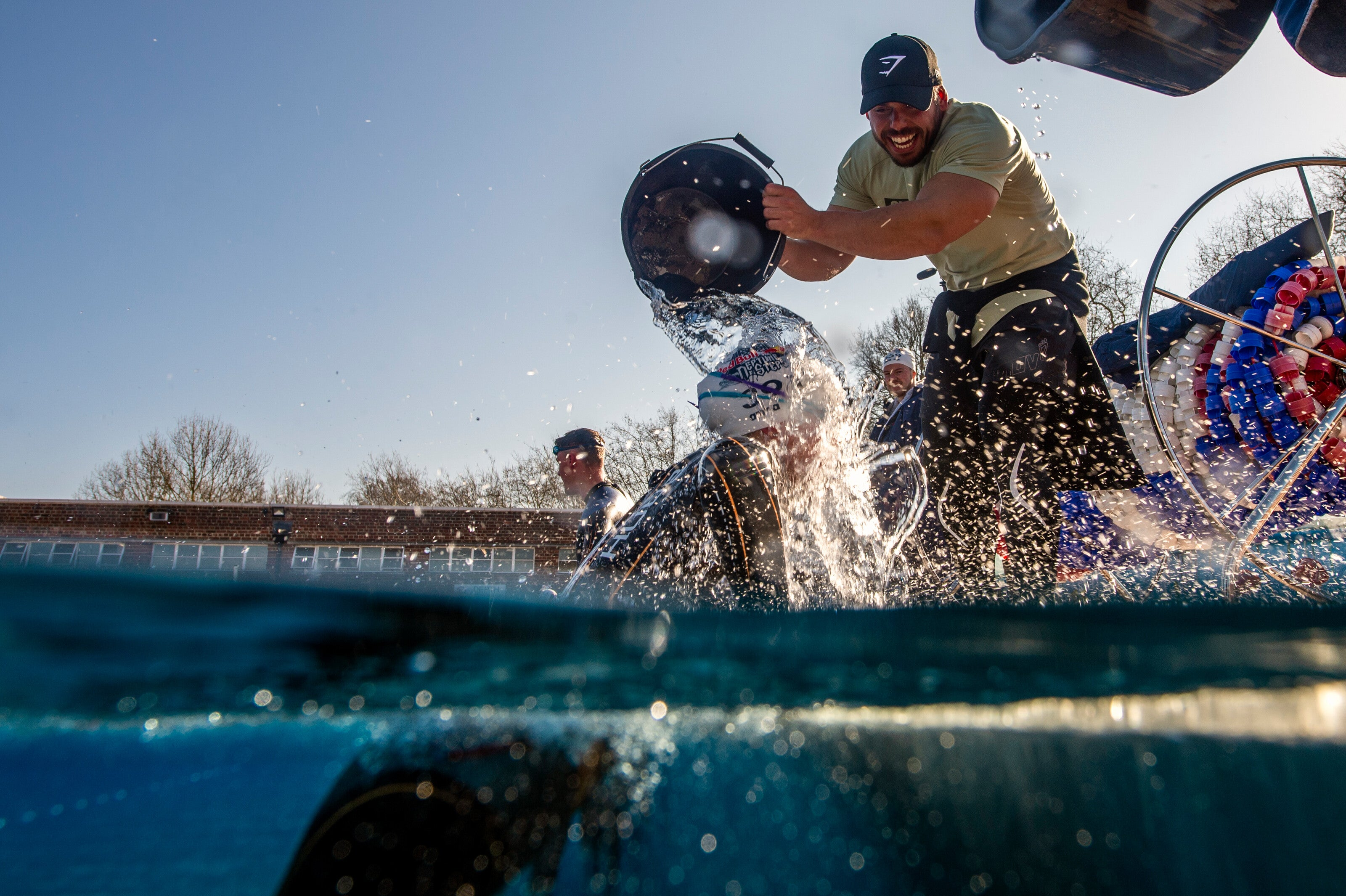 Ross Edgely throwing an ice bucket in training for Red Bull Neptune Steps