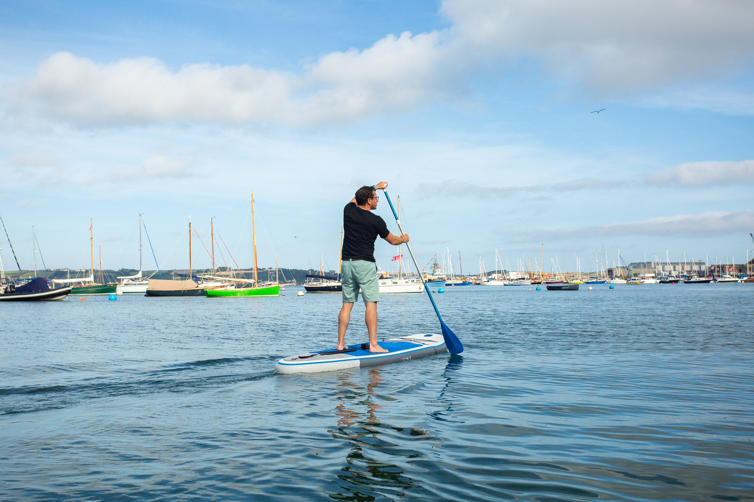 Tom Telford lunch break SUP in Falmouth