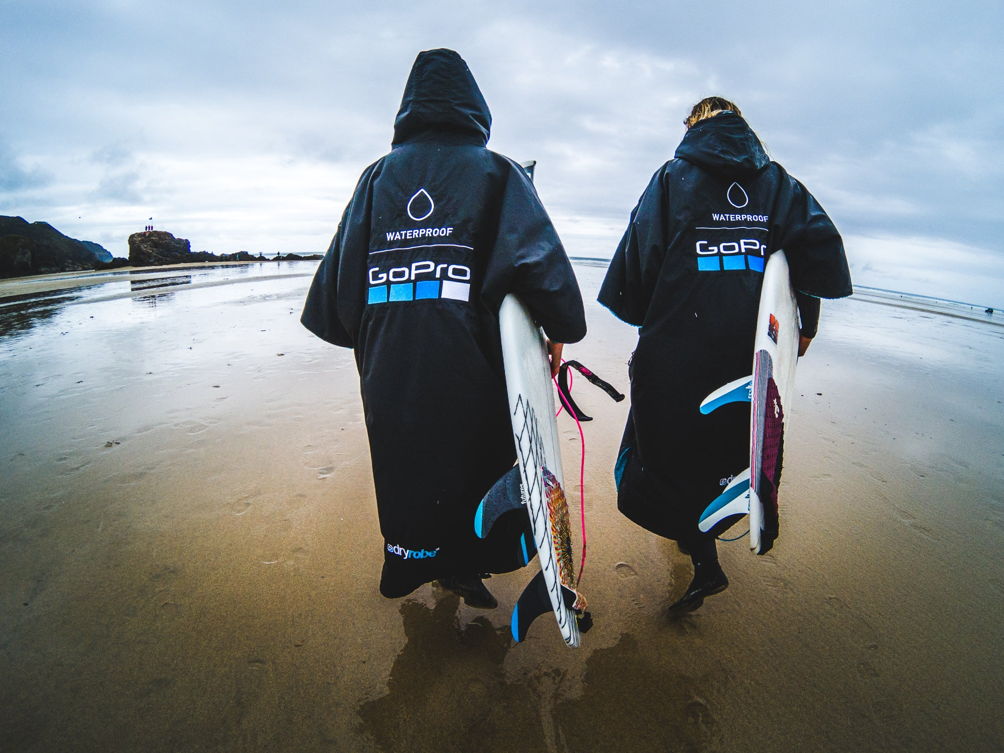 Custom GoPro dryrobes in action