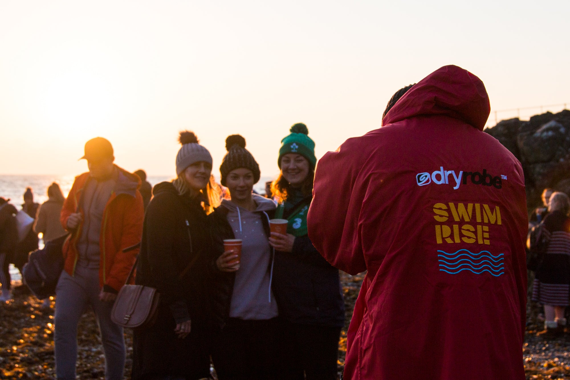 Limited Edition Happy Pear swimrise dryrobe at Greystones, May 2019