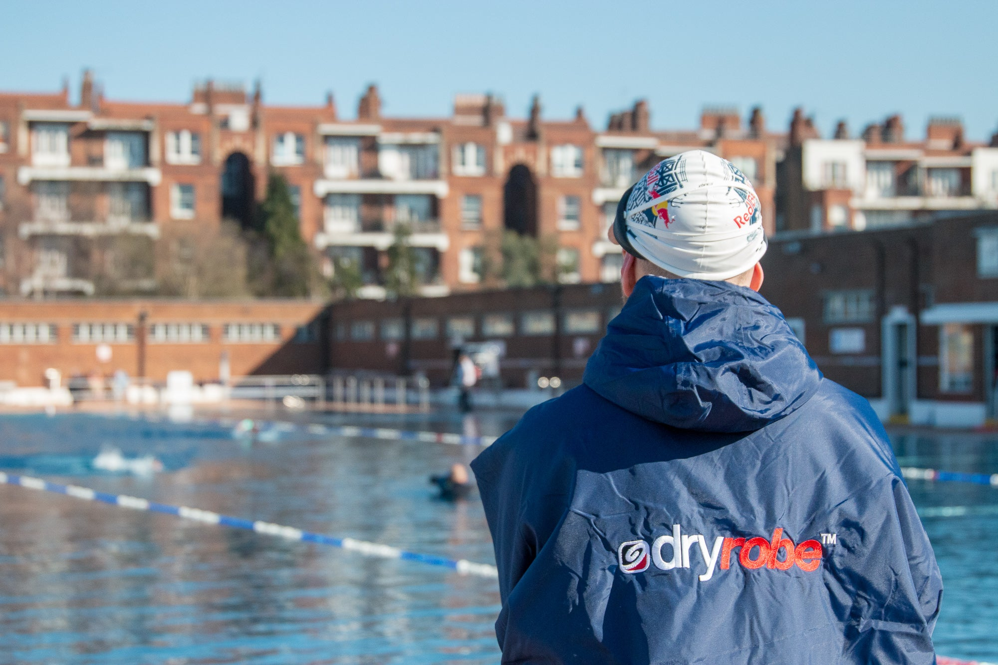 dryrobe being used at Parliament Hill Lido, London