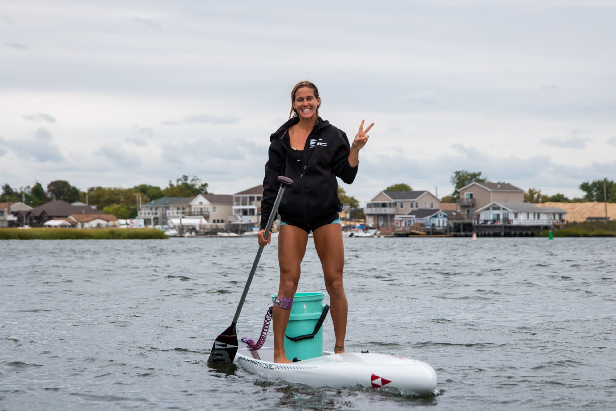 Seychelle Webster at New York SUP Beach Clean at the APP World Tour 2019