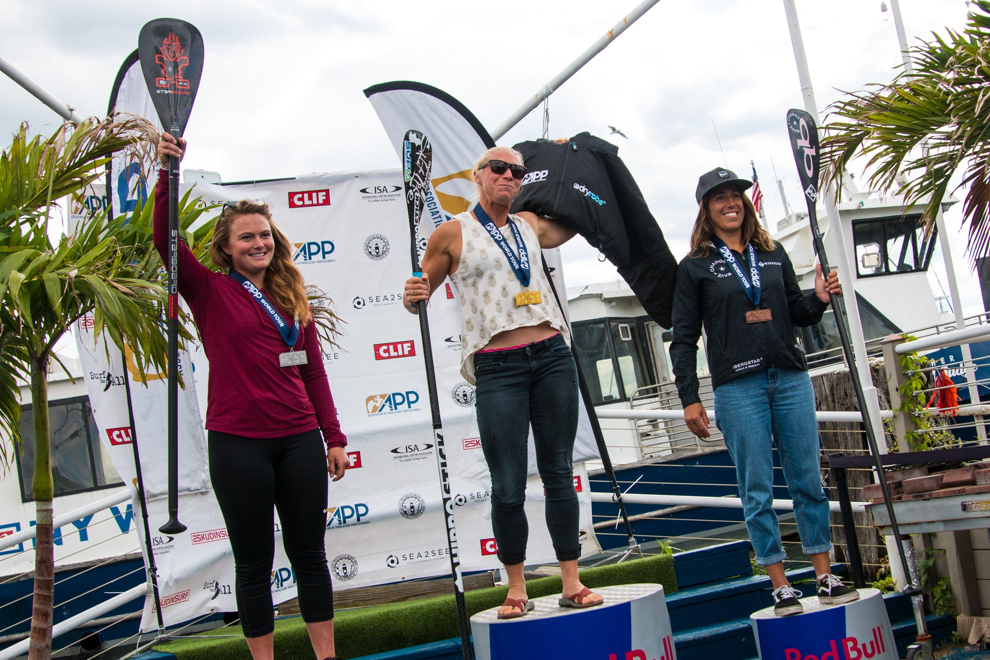 April Zilig, Seychelle Webster and Fiona Wylde on the podium, 2019 NY SUP Open