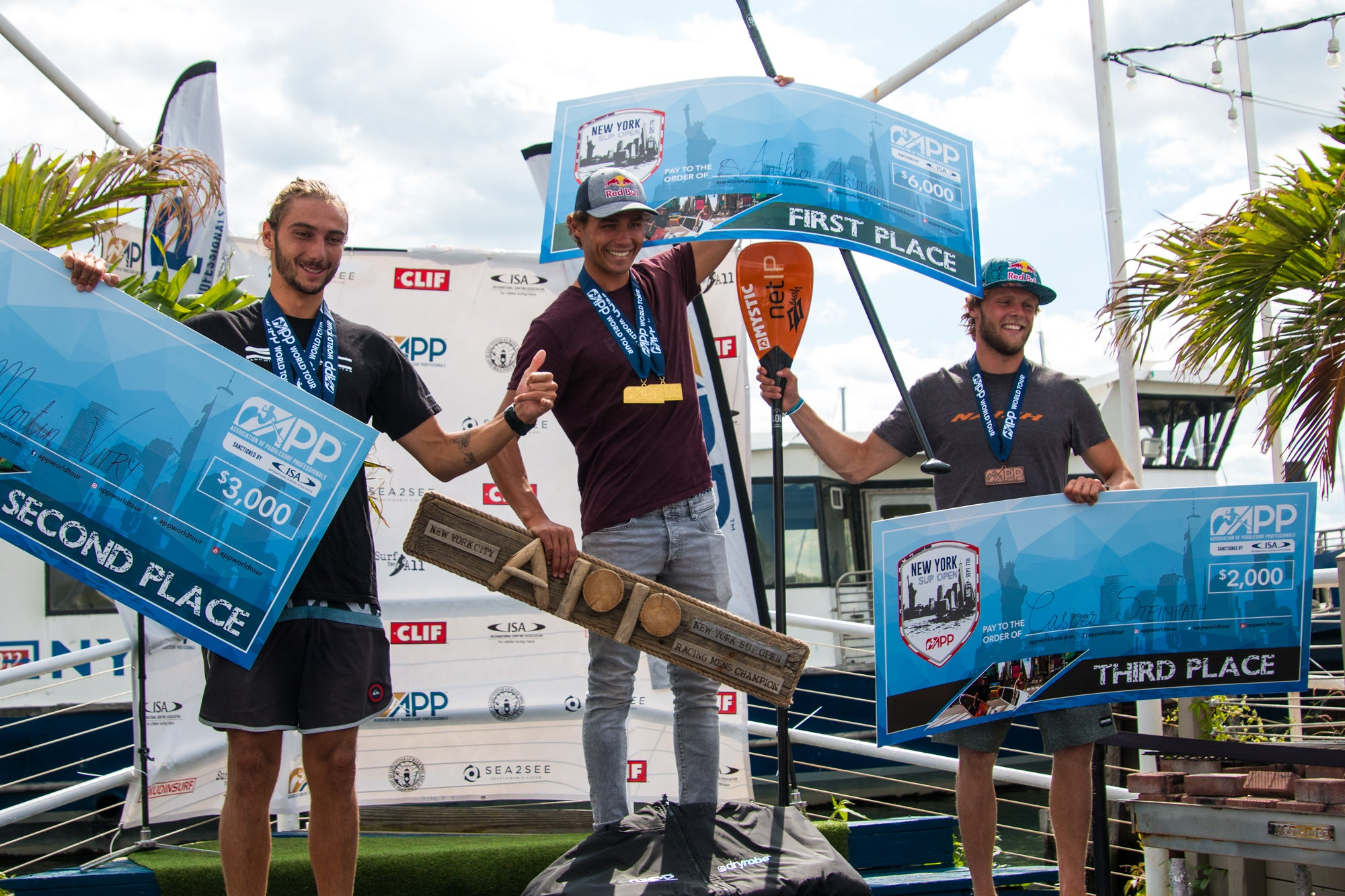 Arthur Arutkin, Martin Vitry and Casper Steinfath on the podium NY SUP Open