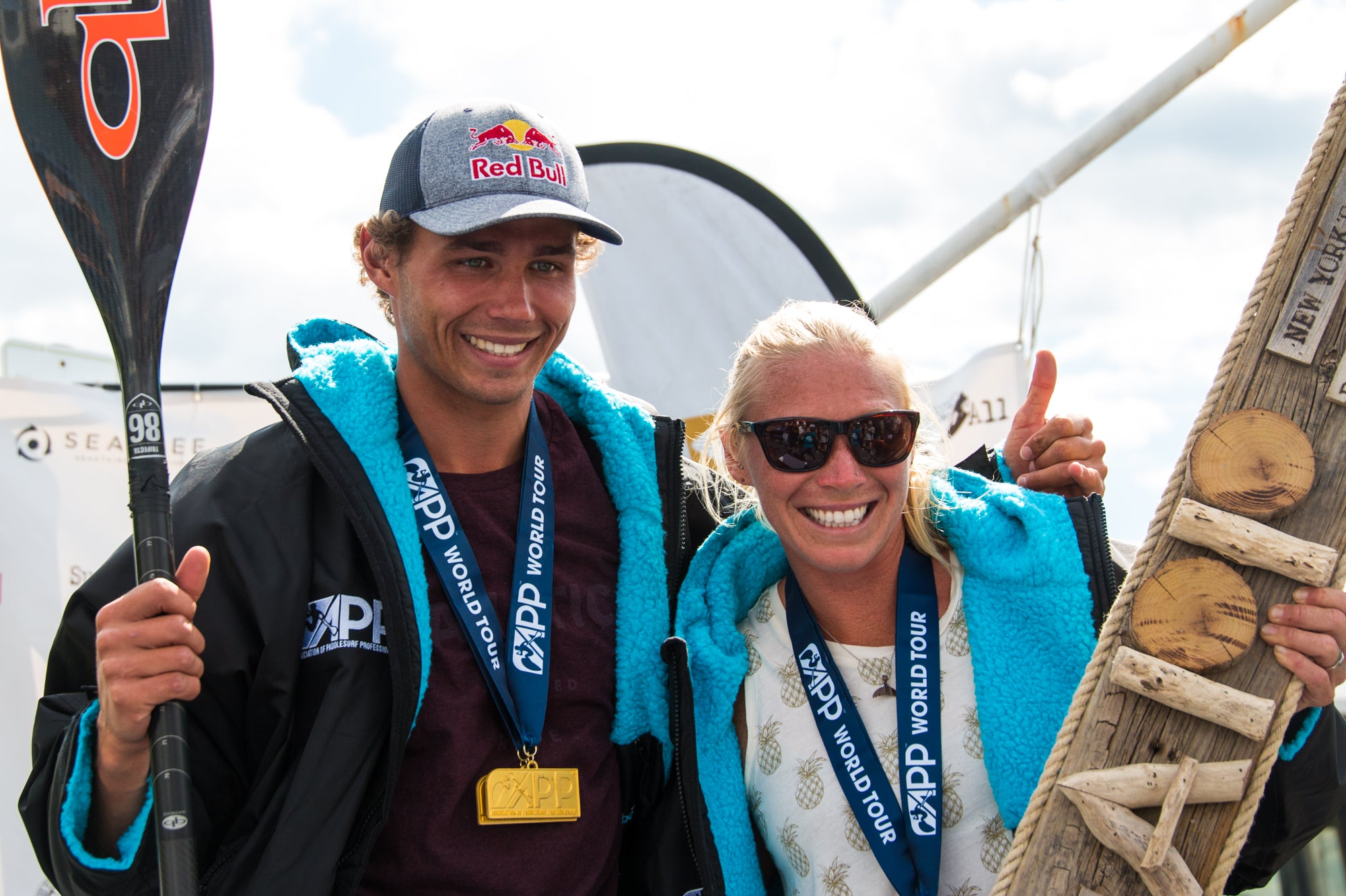 April Zilg and Arthur Arutkin winners of the New York SUP Open 2019 - APP World Tour