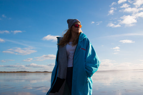 dryrobe, advance, long, sleeve, dryrobeterritory, new, colours, sky, blue, beach
